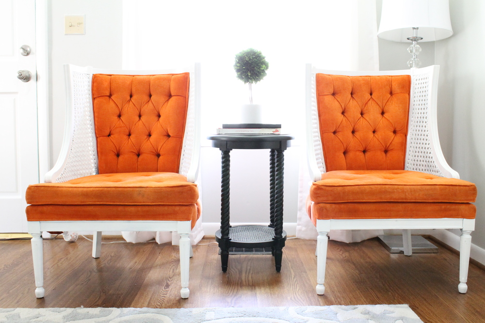 EB Loves Old Houses | Tufted Orange Cane Wingback Chairs