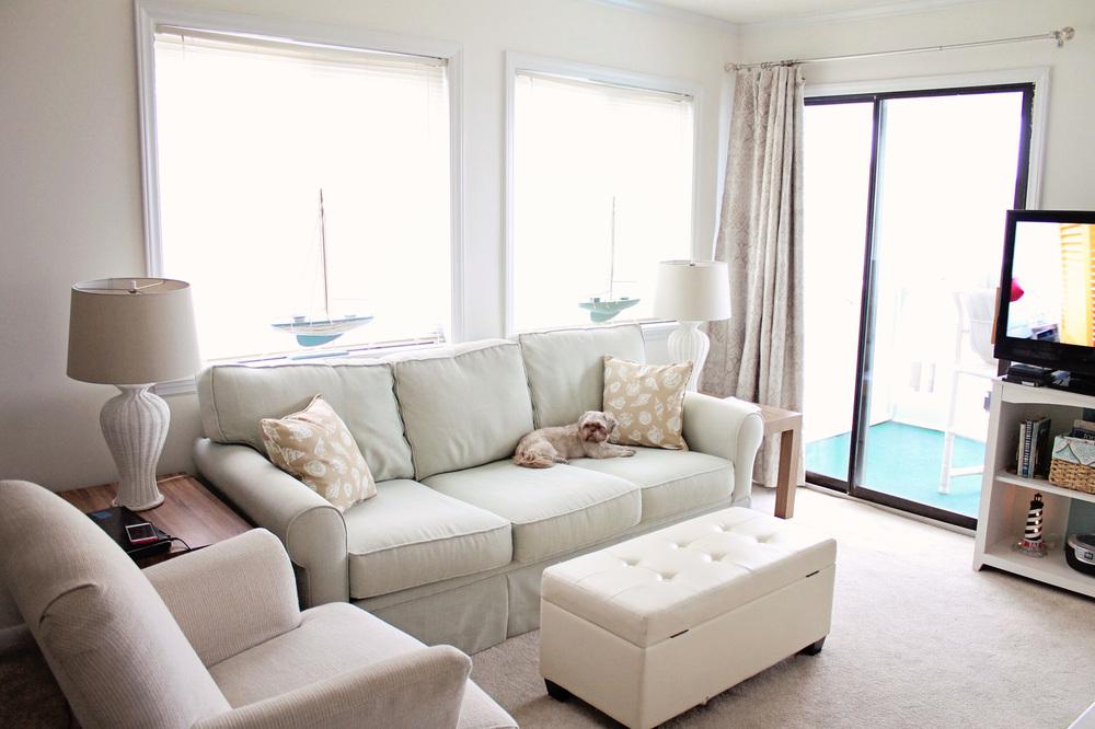 Elizabeth Burns Design | Sea Spray Condo Living Room Before and After