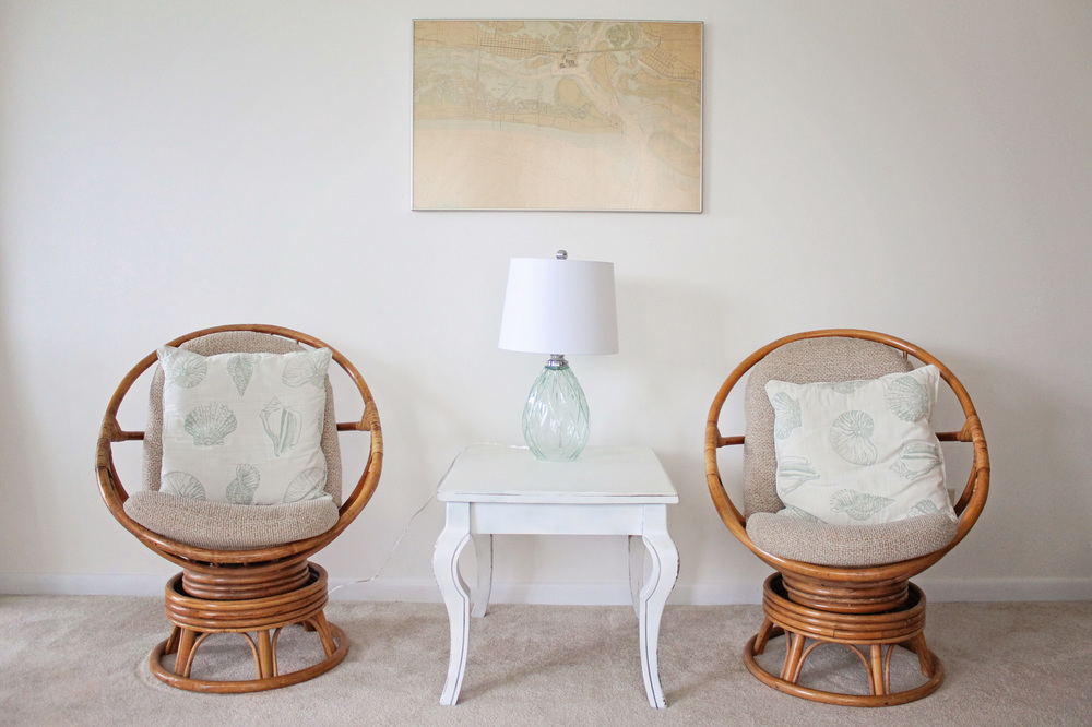 Elizabeth Burns Design | Sea Spray Condo Living Room Before and After