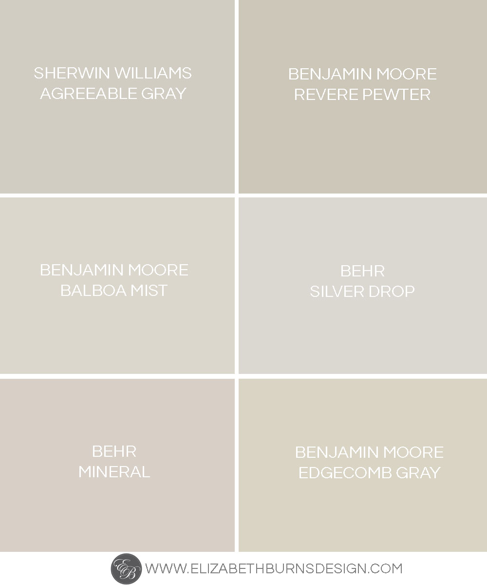 The perfect shades of greige paint colors elizabeth for Warm neutral grey paint