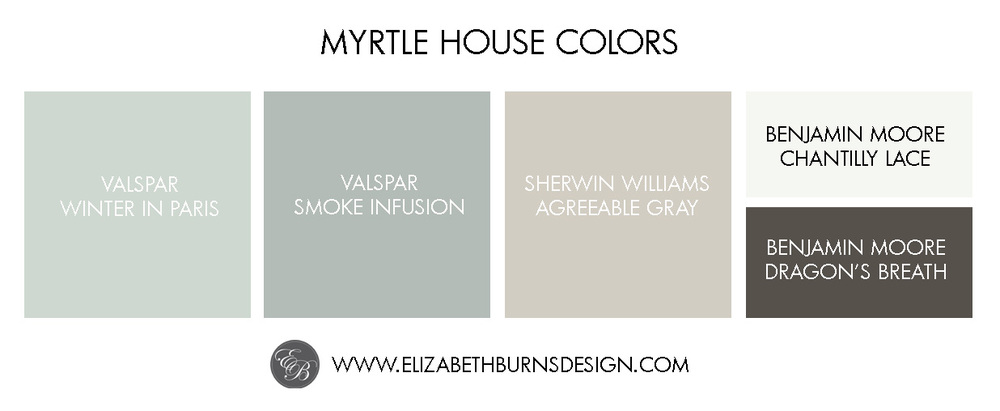 Elizabeth Burns Design | Myrtle House Color Palette: Valspar Winter in Paris, Valspar Smoke Infusion, Sherwin Williams Agreeable Gray, Benjamin Moore Chantilly Lace, Benjamin Moore Dragon's Breath