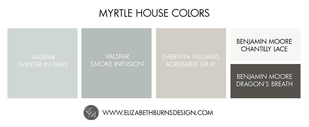 Merveilleux Elizabeth Burns Design | Myrtle House Color Palette: Valspar Winter In  Paris, Valspar Smoke