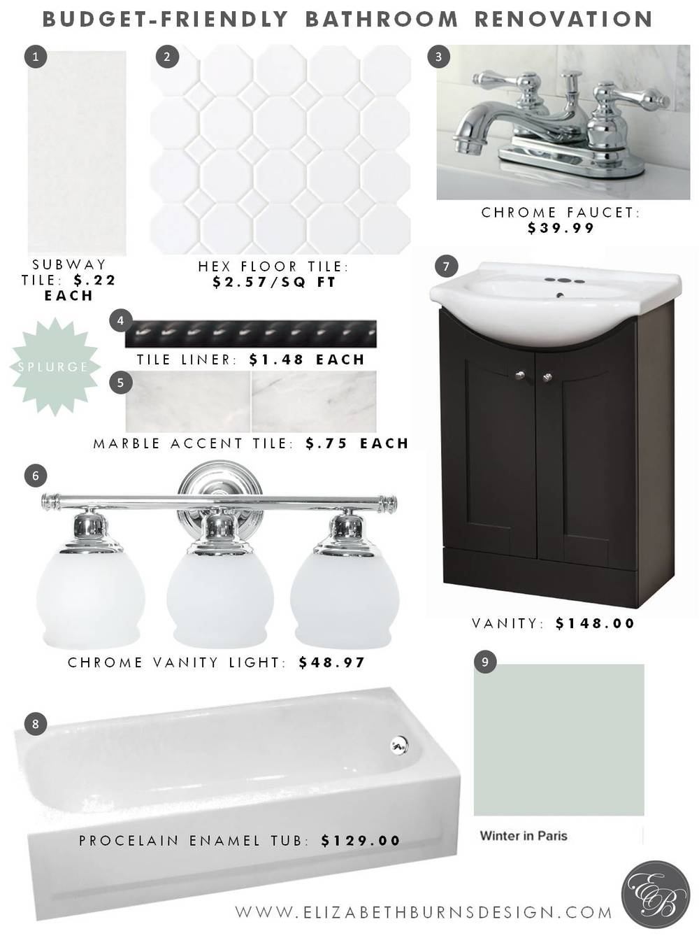 Elizabeth Burns Design | Budget Friendly Bathroom Design - Subway Tile, Chrome Faucet, Chrome Light, Marble Accent, Hex Tile