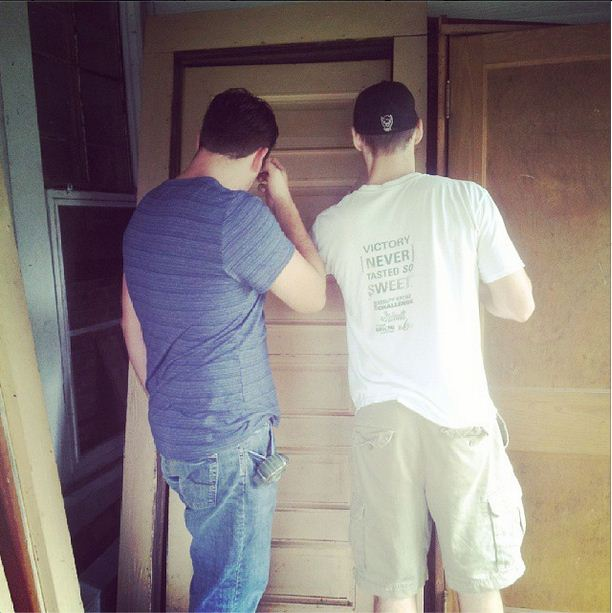 Measuring the old doors