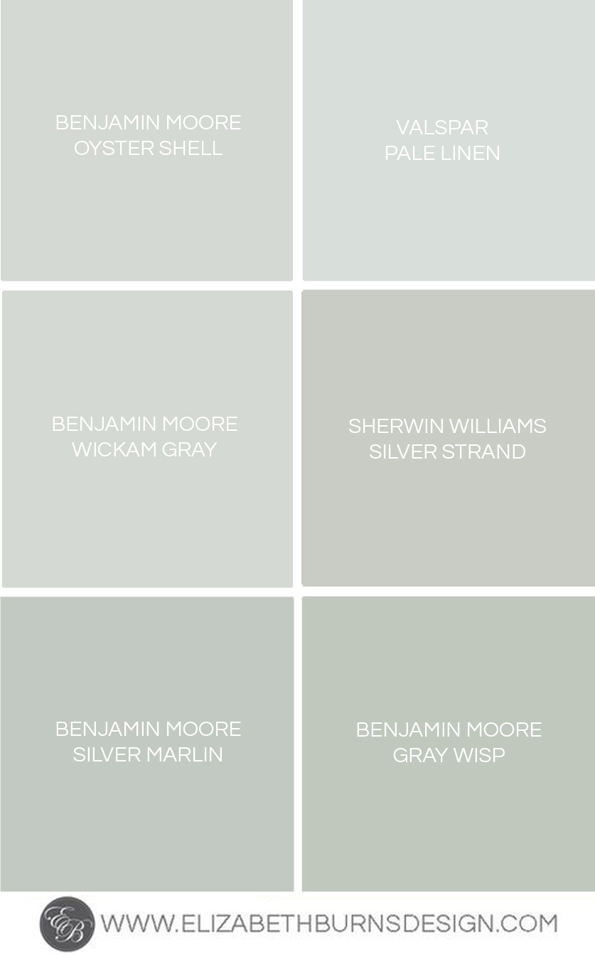 Gray blue green shades paint colors elizabeth burns Green grey paint benjamin moore