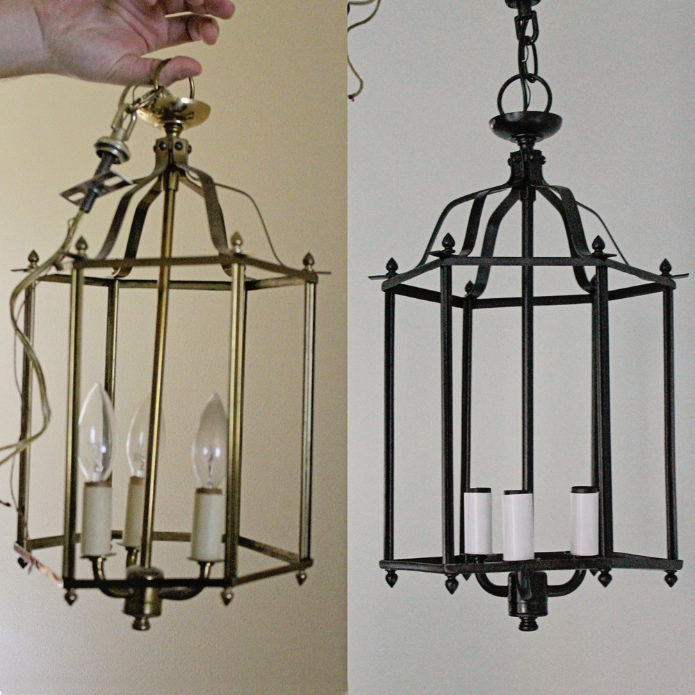 Elizabeth Burns Design - brass pendant chandelier makeover DIY