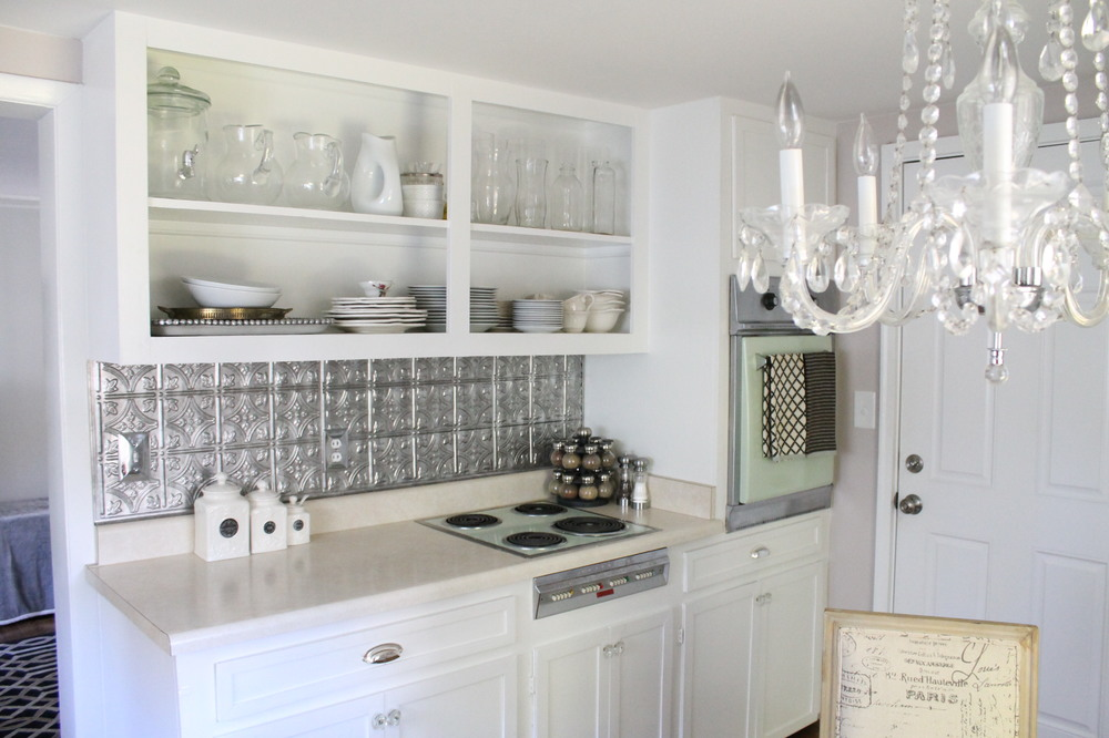 Elizabeth Burns Design | Brooklyn House Faux Tin Backsplash Budget Kitchen  Makeover
