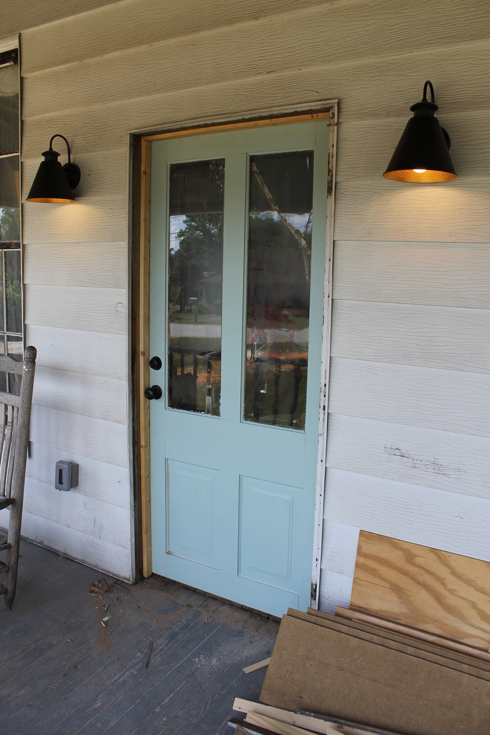 Elizabeth Burns Design | Old Front Door, Farmhouse Renovation, Benjamin Moore Wythe Blue Door