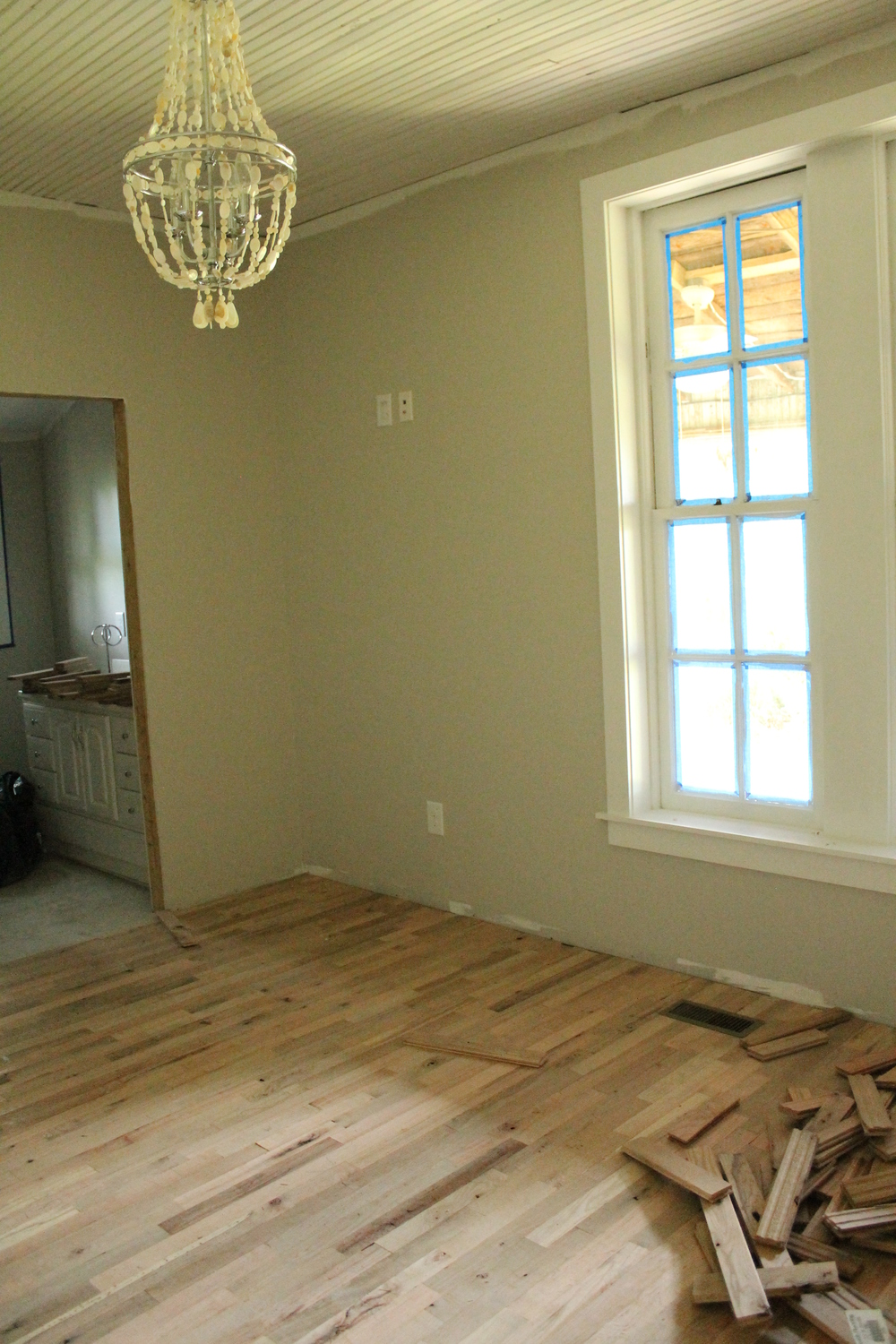 Elizabeth Burns Design | Installing Utility Grade Oak Flooring, DIY