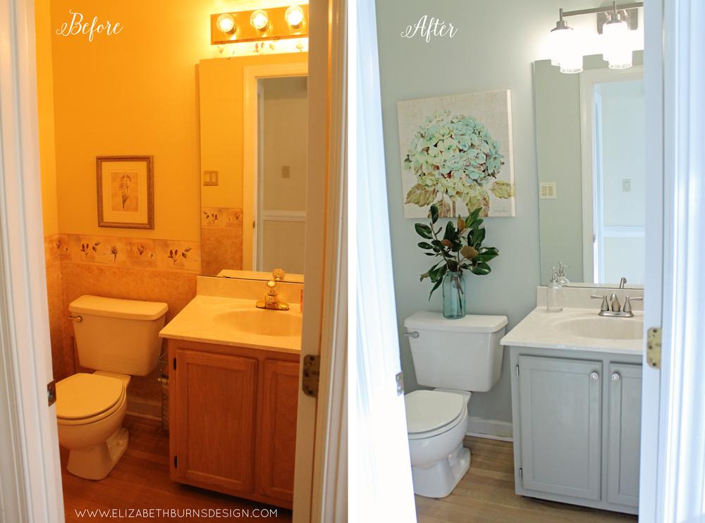 Elizabeth Burns Design | Raleigh NC Interior Designer   Budget Friendly  Bathroom Makeover; Powder Room