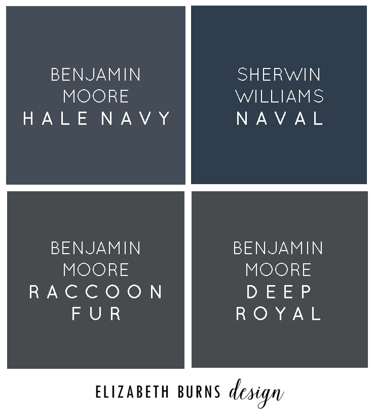 Elizabeth Burns Design | Perfect Navy Paint Colors - Benjamin Moore Hale Navy, Sherwin Williams Navy, Benjamin Moore Raccoon Fur, Benjamin Moore Deep Royal