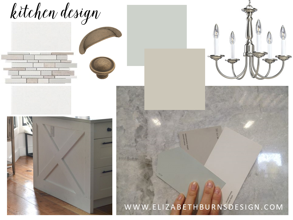 Subway Tile  |  Accent Tile  |  Pull  |  Knob  |  SW Sea Salt  |  BM Revere Pewter  |  Chandelier  |  Island Inspiration  |  Granite Inspiration
