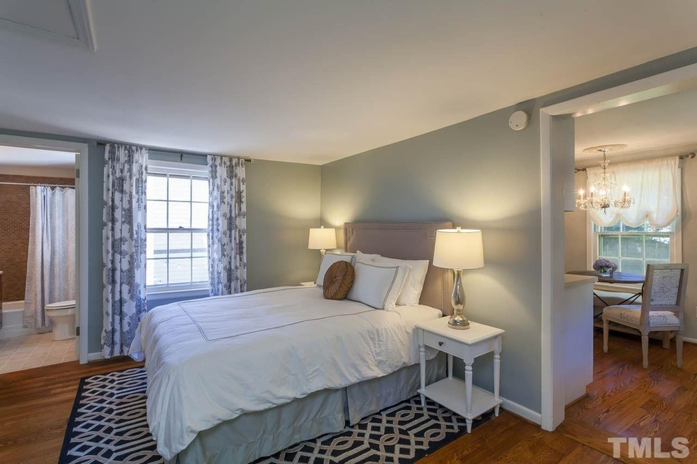 Elizabeth Burns Design | Sherwin Williams Magnetic Gray, Bedroom Design, Raleigh NC Interior Design, Before and After