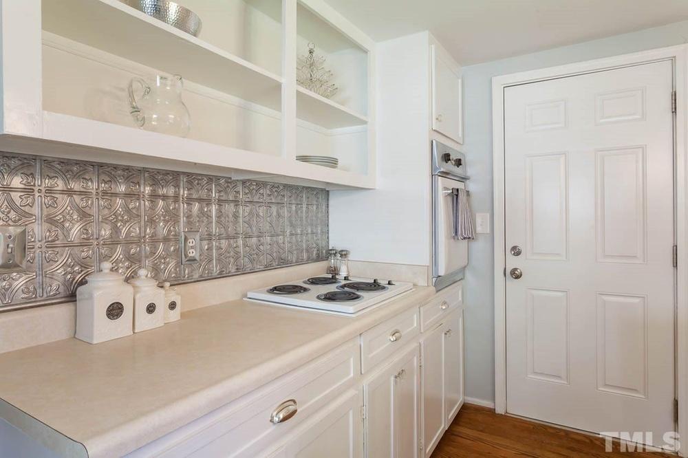 Elizabeth Burns Design | DIY Shaker trim, update flat panel cabinets, 50s cabinet makeover, before and after kitchen