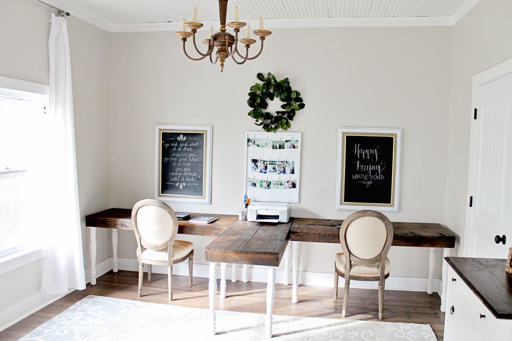 Elizabeth Burns Design | Family Farmhouse Fixer Upper - Budget Office Renovation Before and Afters - Sherwin Williams Agreeable Gray