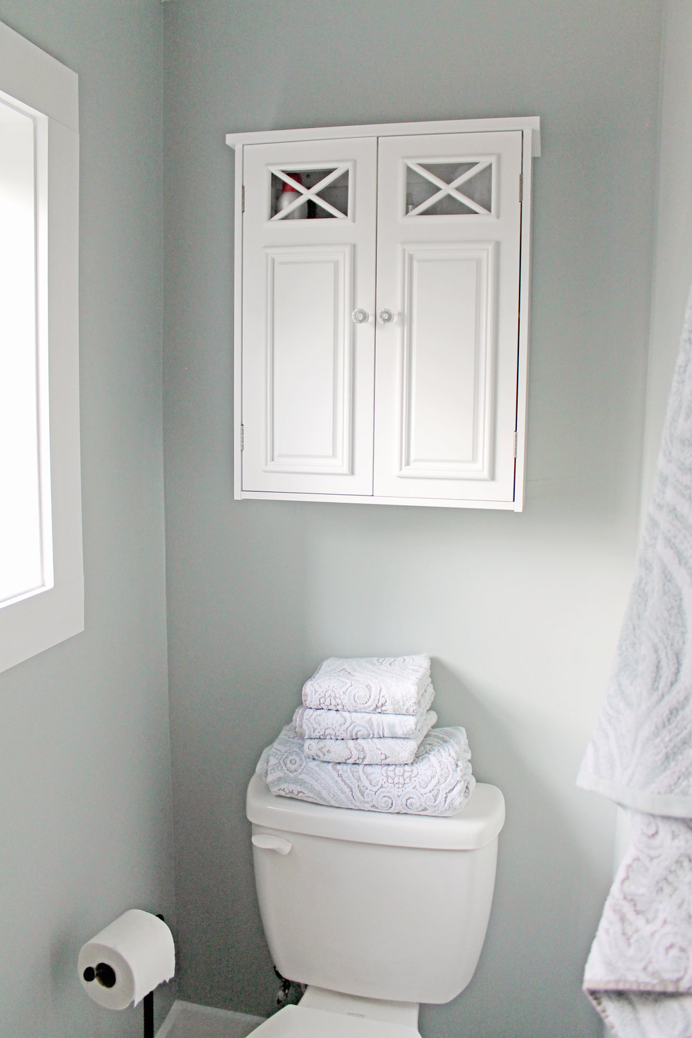 Elizabeth Burns Design | Family Farmhouse Fixer Upper - Master Bathroom before and afters on a budget, Sherwin Williams Magntic Gray