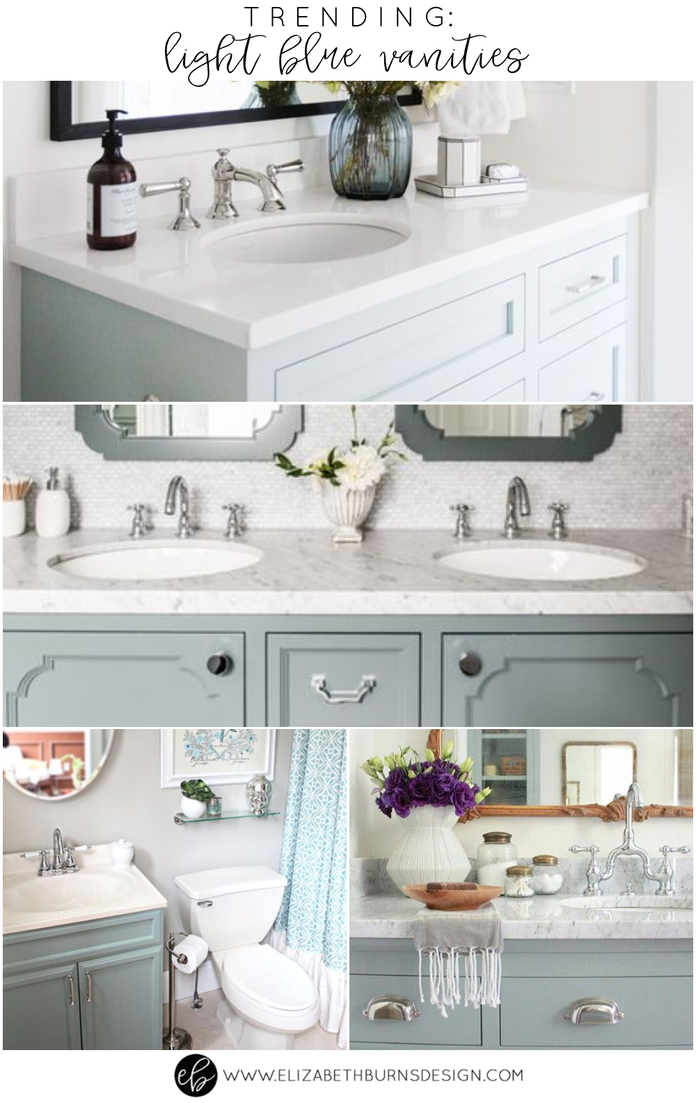 Trending Light Blue Vanities Elizabeth Burns Design Raleigh NC - Bathroom vanities raleigh