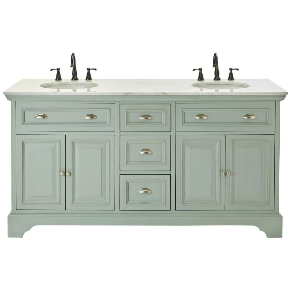 Sadie Double Vanity in Antique Light Cyan - Trending: Light Blue Vanities — Elizabeth Burns Design, Raleigh NC