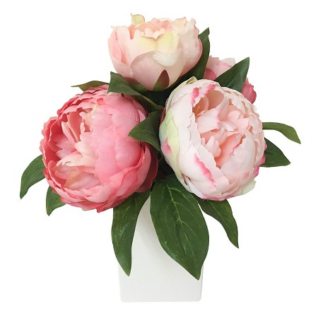 Faux Peonies in White Vase | $19.99