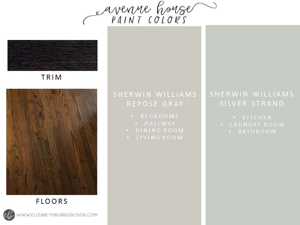 House Flipping Color Scheme - Sherwin Willians Repose Gray and SW Silver Strand with Dark Walnut Floors