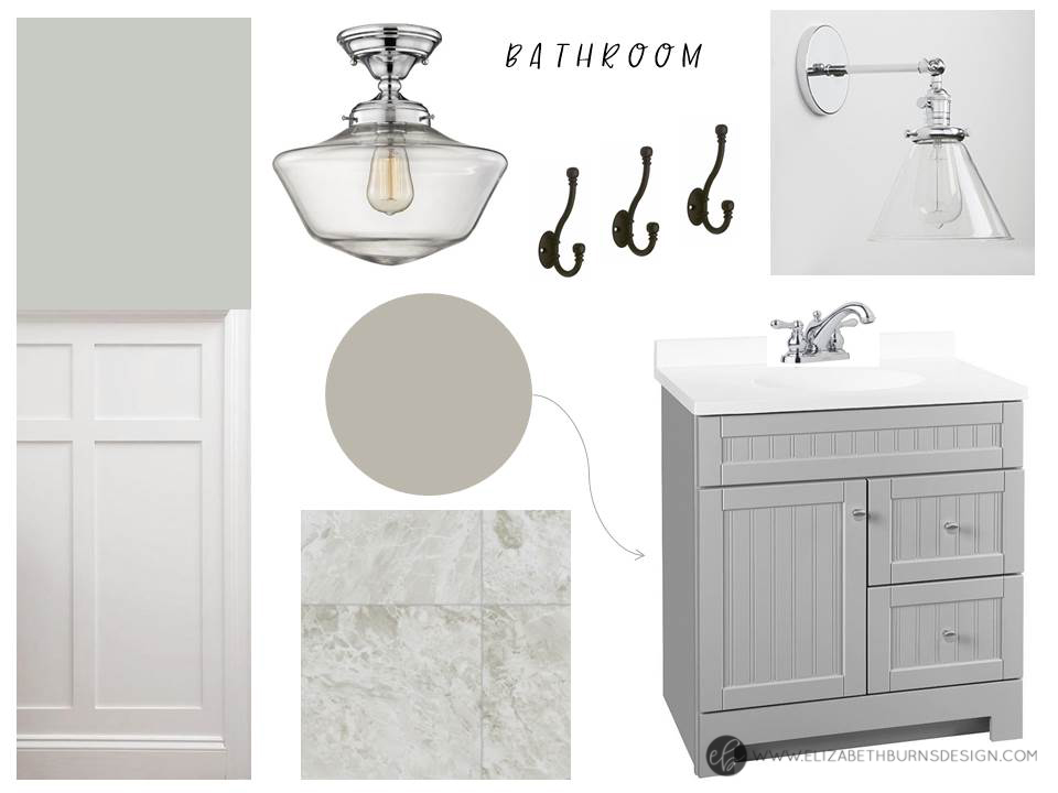 House Flipping - Bathroom Selections: Chrome Schoolhouse Light, Gray Vanity, Wainscoting, and Marble Vinyl Floor with Silver Strand Walls