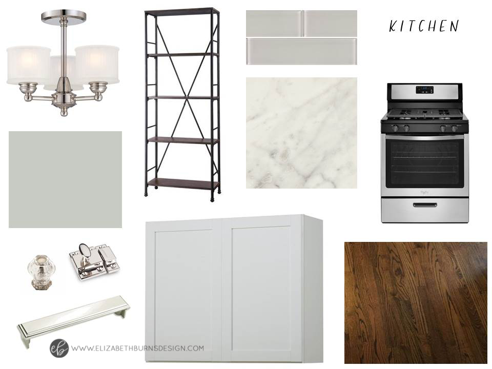 House Flipping Kitchen Selections - White Shaker Cabinets, Marble Laminate Formica Counter, Dark Walnut Floor, Glass Subway Tile Backsplash, Polished Nickel Hardware, Silver Strand Walls