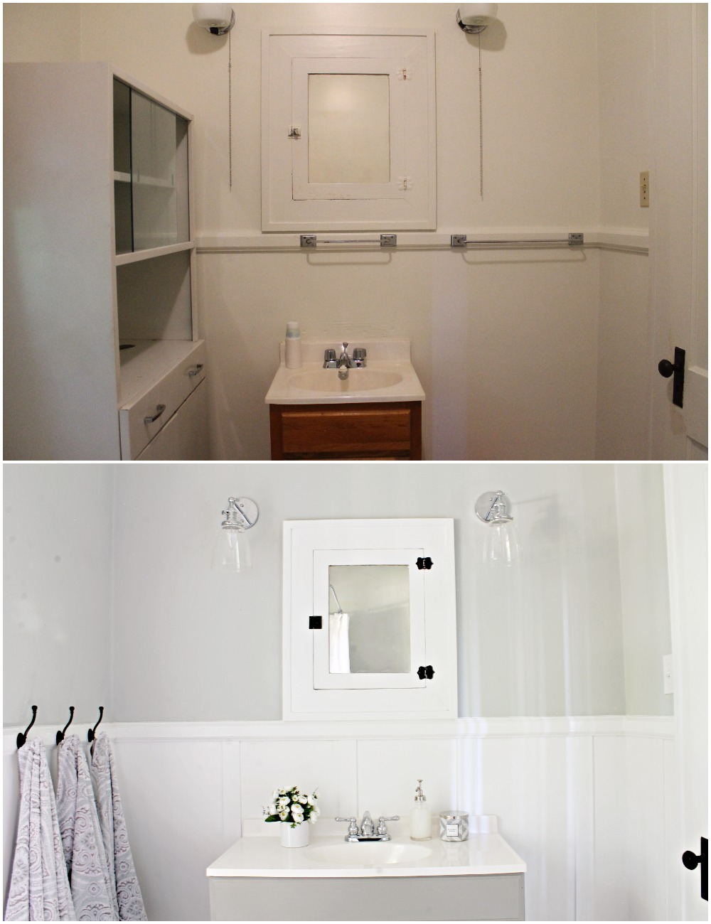 House Flipping Before and Afters - Budget Bathroom Renovation, White Gray and Blue Bath - Sherwin Williams Silver Strand 25