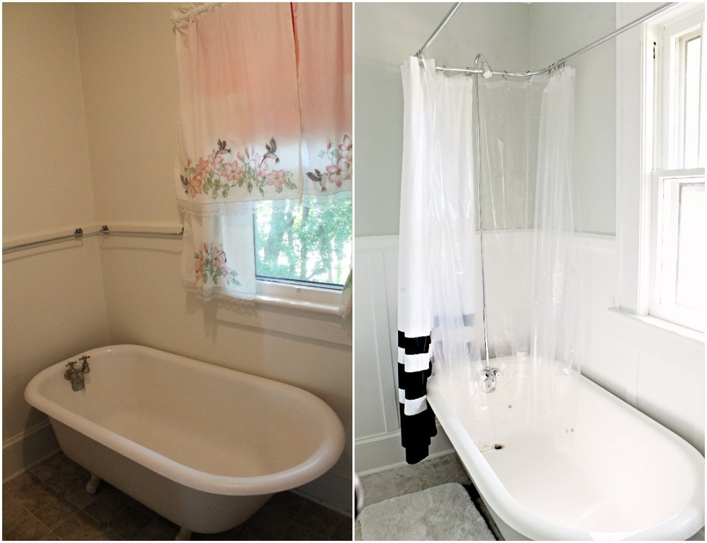 House Flipping Before and Afters - Budget Bathroom Renovation, White Gray and Blue Bath - Sherwin Williams Silver Strand 23