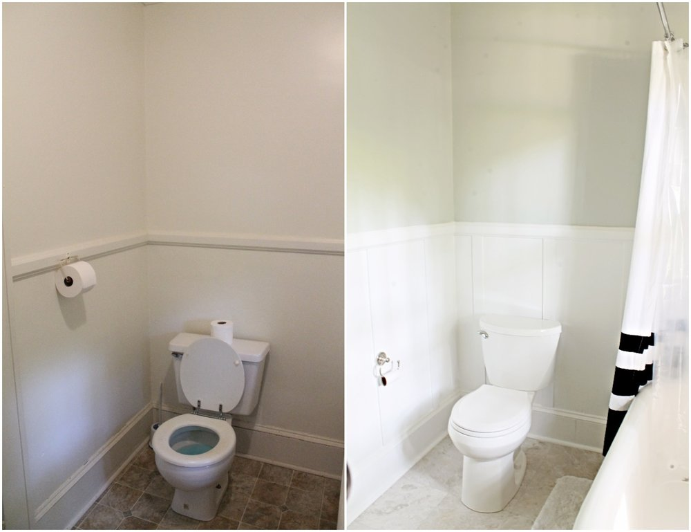 House Flipping Before and Afters - Budget Bathroom Renovation, White Gray and Blue Bath - Sherwin Williams Silver Strand 24