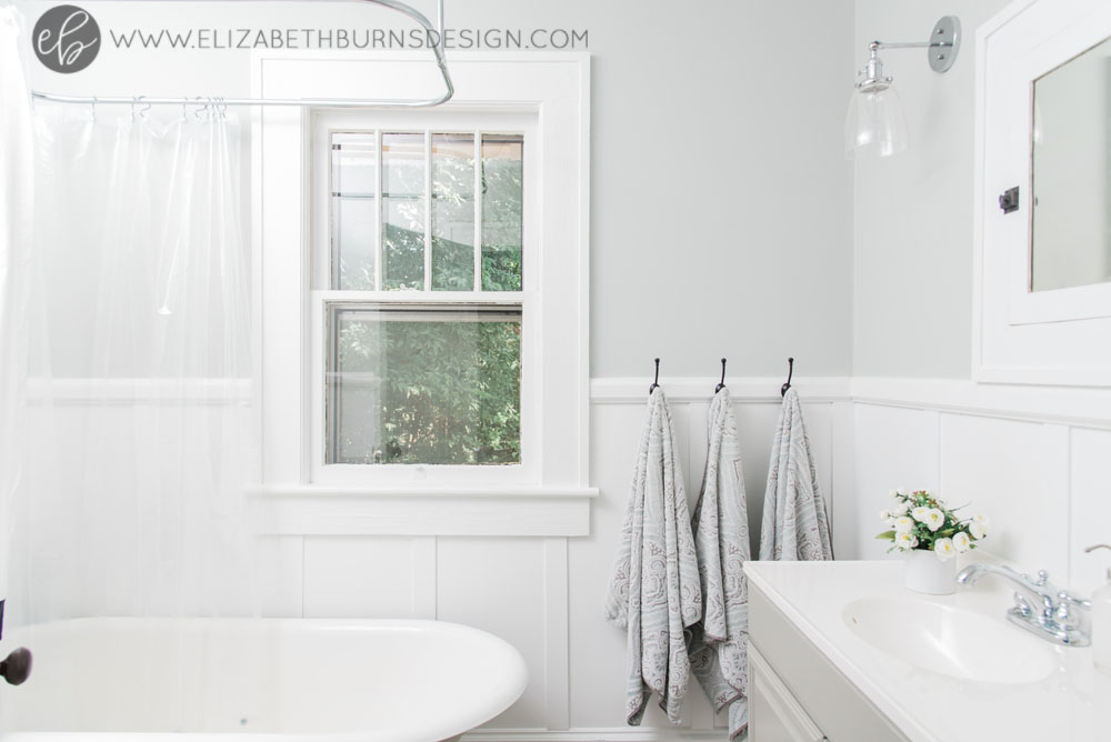 House Flipping Before and Afters - Budget Bathroom Renovation, White Gray and Blue Bath - Sherwin Williams Silver Strand (7).jpg