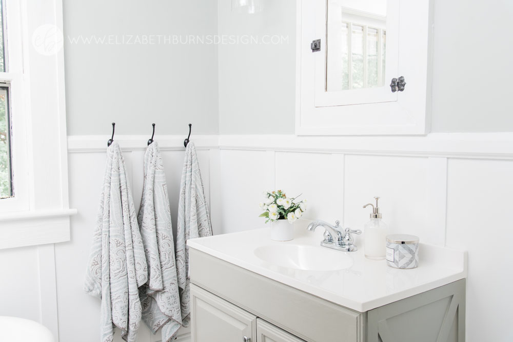 House Flipping Before and Afters - Budget Bathroom Renovation, White Gray and Blue Bath - Sherwin Williams Silver Strand (2).jpg