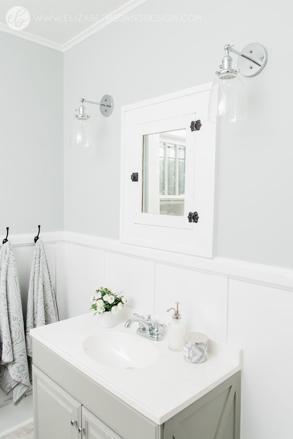 House Flipping Before and Afters - Budget Bathroom Renovation, White Gray and Blue Bath - Sherwin Williams Silver Strand (18).jpg