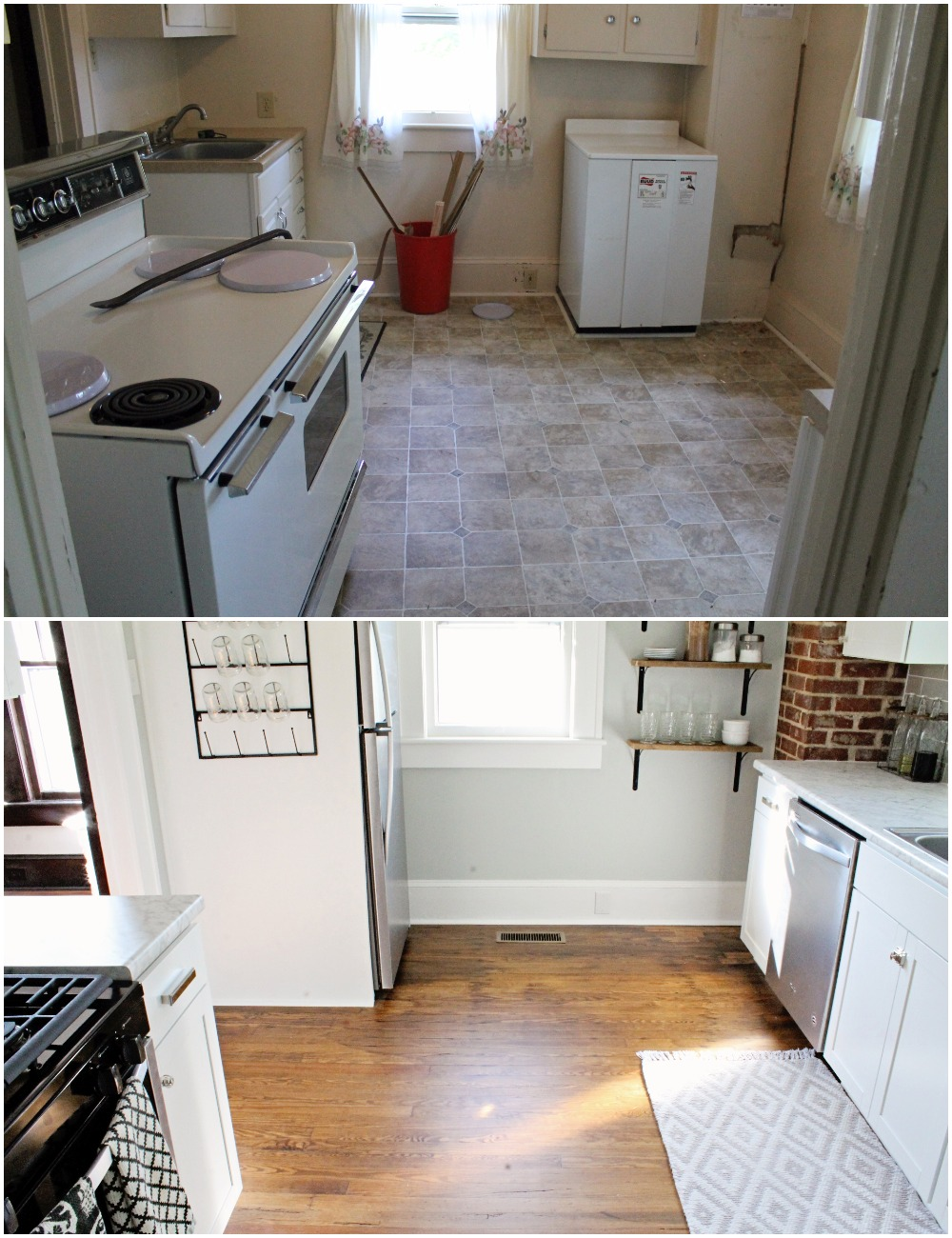 House Flipping Before and Afters - Budget Kitchen Renovation, Cheap Cabinets, Cheap Countertops - Sherwin Williams Silver Strand 18