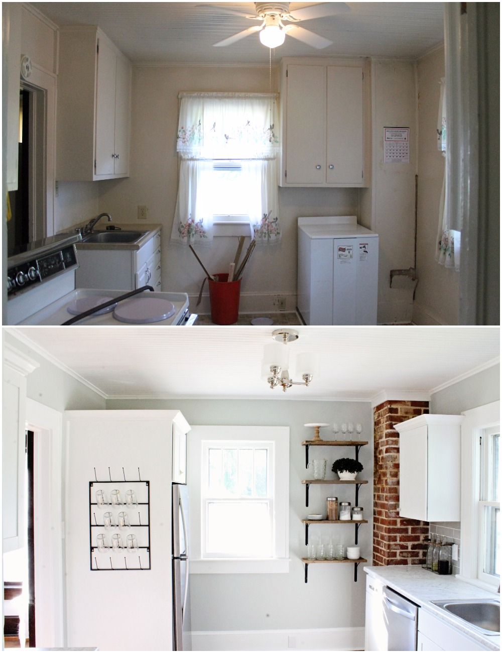 House Flipping Before and Afters - Budget Kitchen Renovation, Cheap Cabinets, Cheap Countertops - Sherwin Williams Silver Strand 19