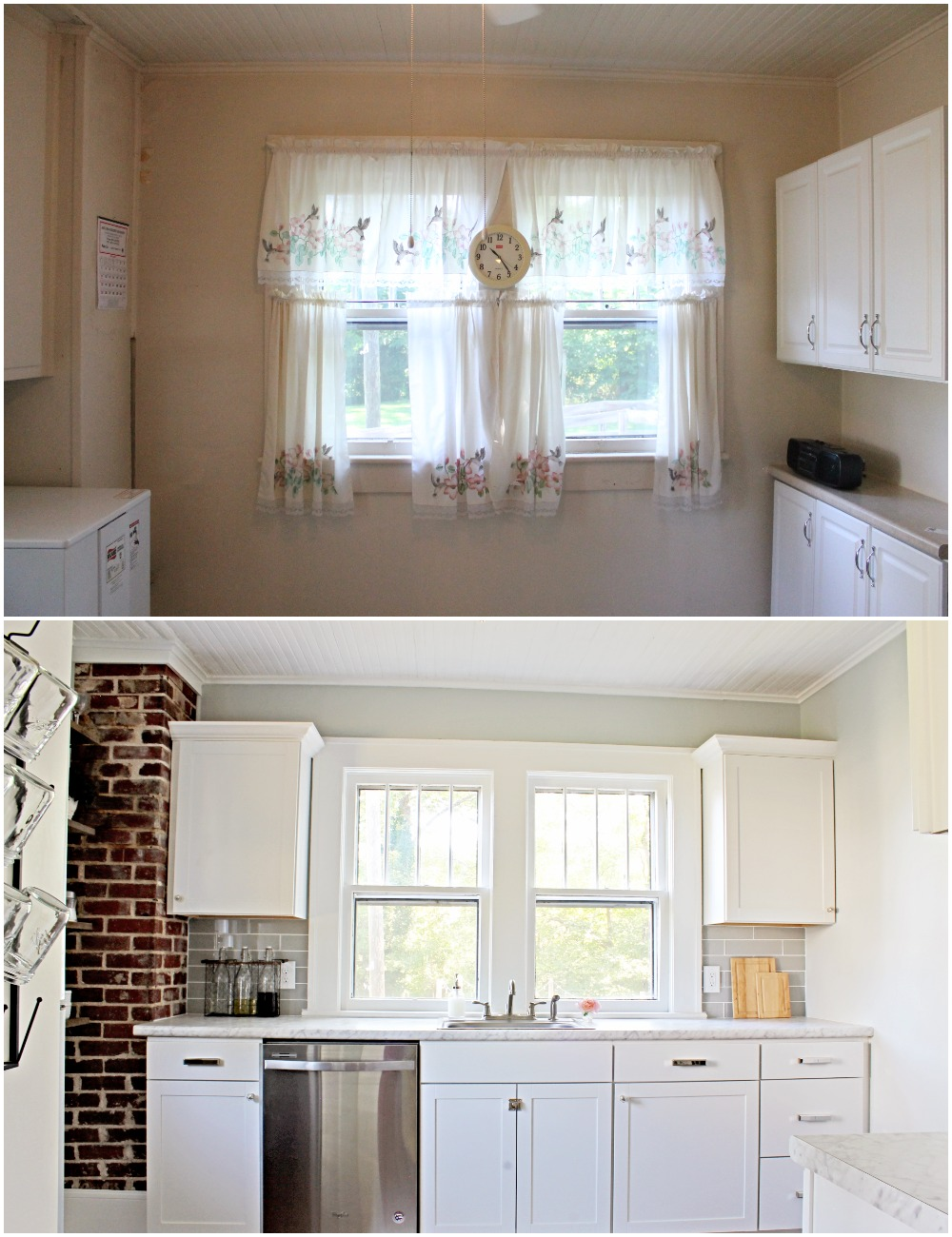 House Flipping Before and Afters - Budget Kitchen Renovation, Cheap Cabinets, Cheap Countertops - Sherwin Williams Silver Strand 20