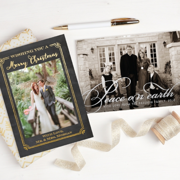 Basic Invite | Gold Foil Holiday Photo Card