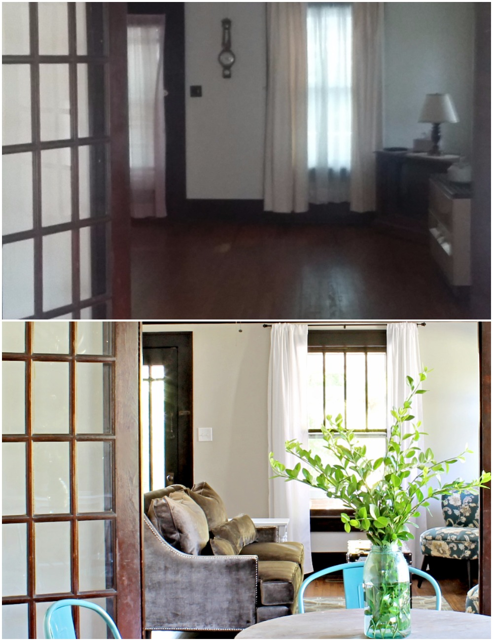 House Flipping Before and Afters - Living Room Budget Renovation Remodel, Wood Trim Paint Colors - Sherwin Williams Repose Gray (3).jpg