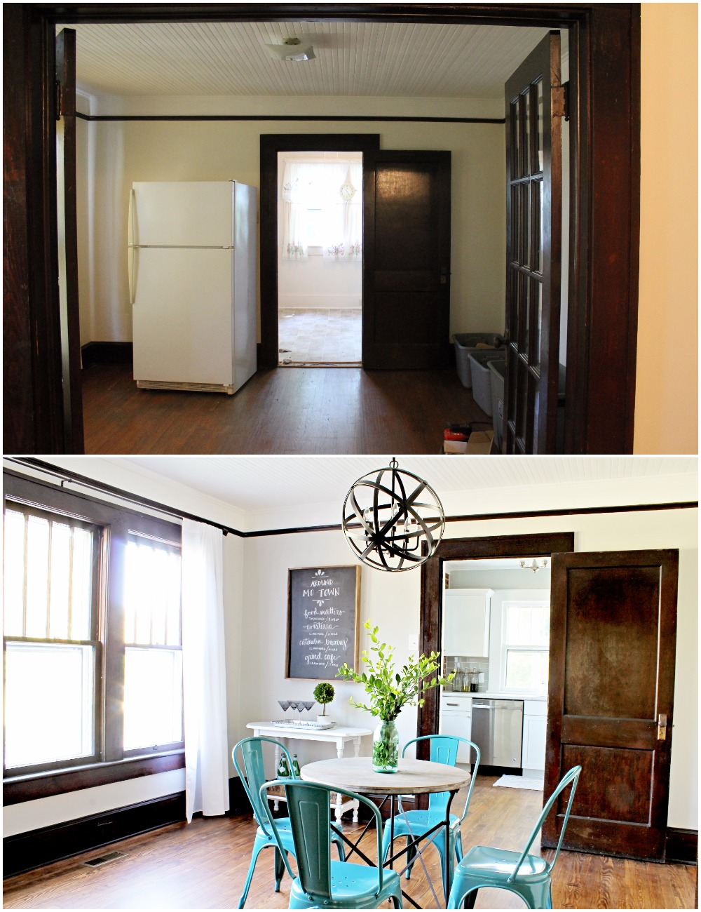 House Flipping Before and Afters - Dining Room Budget Renovation Remodel, Wood Trim Paint Colors - Sherwin Williams Repose Gray (3).jpg