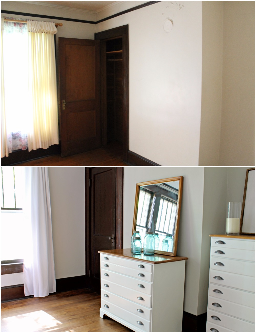 House Flipping Before and Afters - Bedroom Staging Ideas, Wood Trim Paint Colors - Sherwin Williams Repose Gray 10