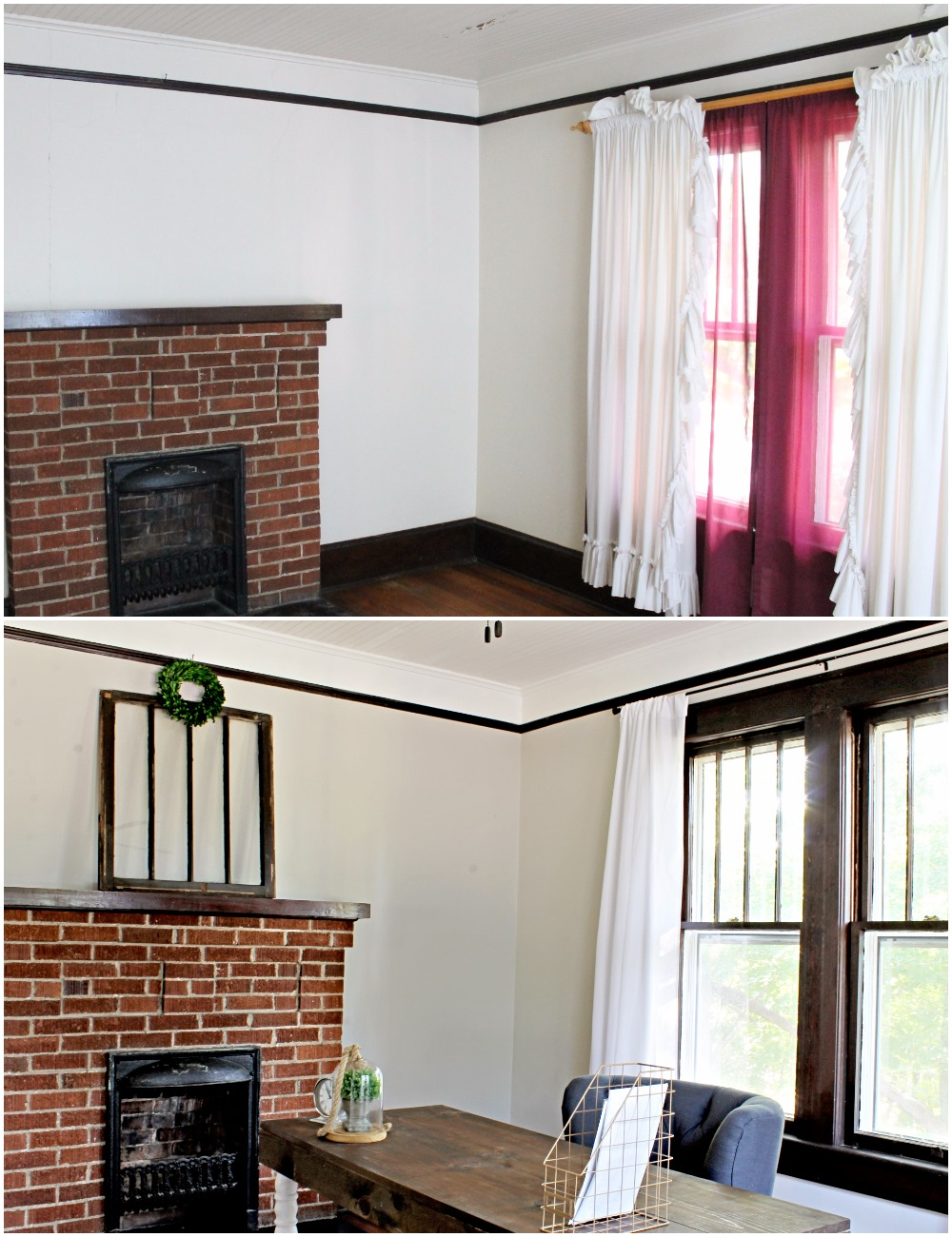 House Flipping Before and Afters - Office Staging Ideas, Wood Trim Paint Colors - Sherwin Williams Repose Gray 10