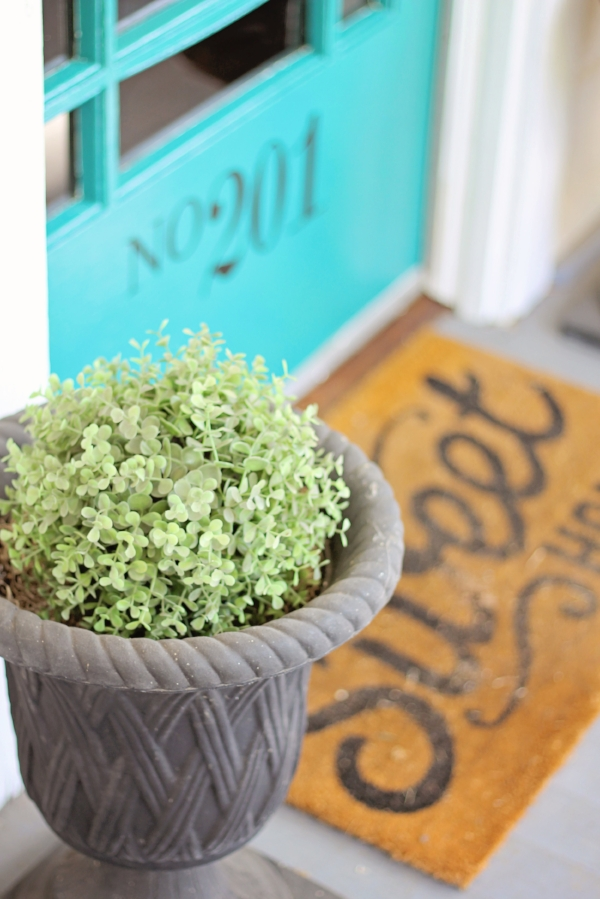 Curb Appeal on a Budget - Turquoise Door, Front Porch Decor, House Flipping