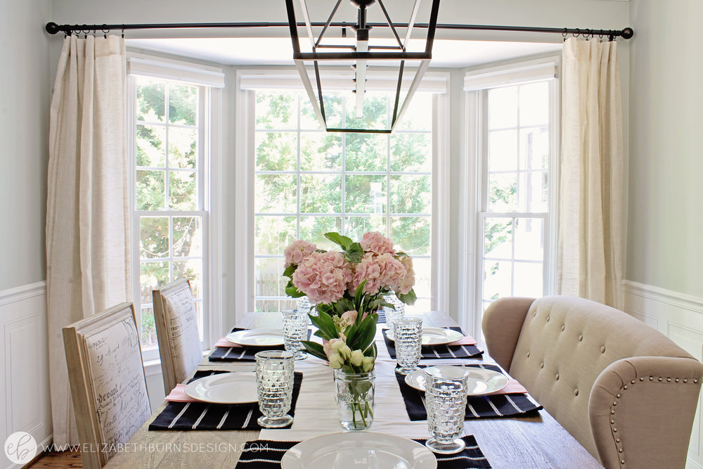 Elizabeth Burns Design - Budget Farmhouse Small Dining Room Sherwin Williams Silver Strand Trestle Table Linen Chairs DIY Wainscoting Dark Walnut Oak Floor (8).jpg
