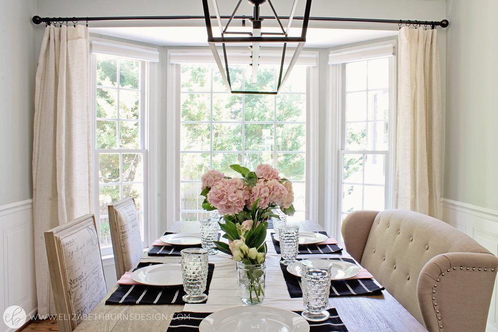 Elizabeth Burns Design   Budget Farmhouse Small Dining Room Sherwin  Williams Silver Strand Trestle Table Linen