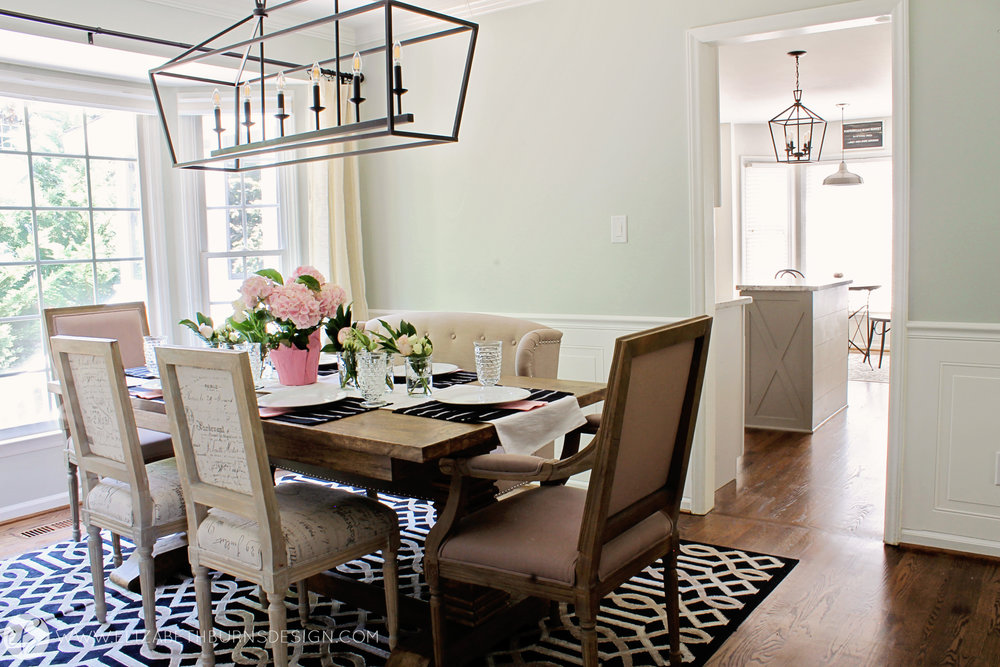 Elizabeth Burns Design - Budget Farmhouse Small Dining Room Sherwin Williams Silver Strand Trestle Table Linen Chairs DIY Wainscoting Dark Walnut Oak Floor (3).jpg