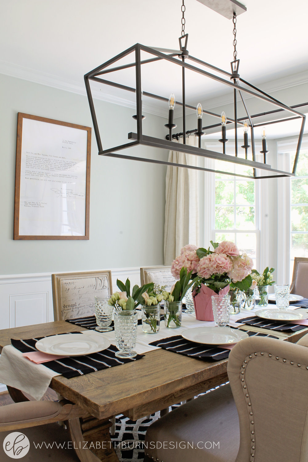 Elizabeth Burns Design - Budget Farmhouse Small Dining Room Sherwin Williams Silver Strand Trestle Table Linen Chairs DIY Wainscoting Dark Walnut Oak Floor (5).jpg