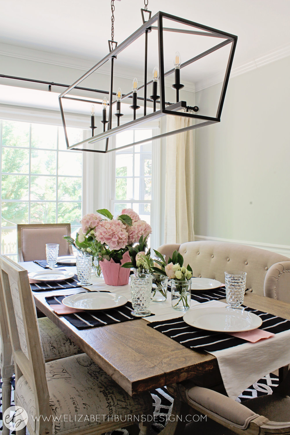 Elizabeth Burns Design - Budget Farmhouse Small Dining Room Sherwin Williams Silver Strand Trestle Table Linen Chairs DIY Wainscoting Dark Walnut Oak Floor (6).jpg