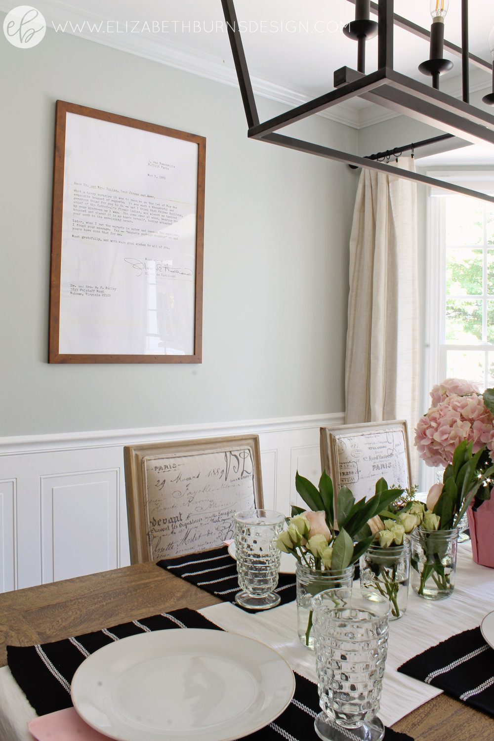 Elizabeth Burns Design - Budget Farmhouse Small Dining Room Sherwin Williams Silver Strand Trestle Table Linen Chairs DIY Wainscoting Dark Walnut Oak Floor (7).jpg