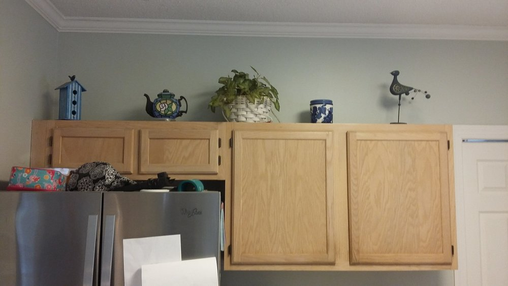 Elizabeth Burns Design | Raleigh Interior Designer - builder grade oak cabinets budget kitchen renovation, painting oak cabinets