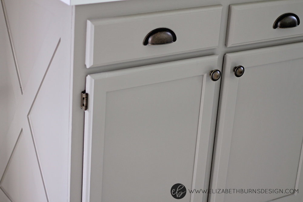 Elizabeth Burns Design | Raleigh Interior Designer - Sherwin Williams Function Gray Cabinet; hardware to match brass hinges on kitchen cabinets