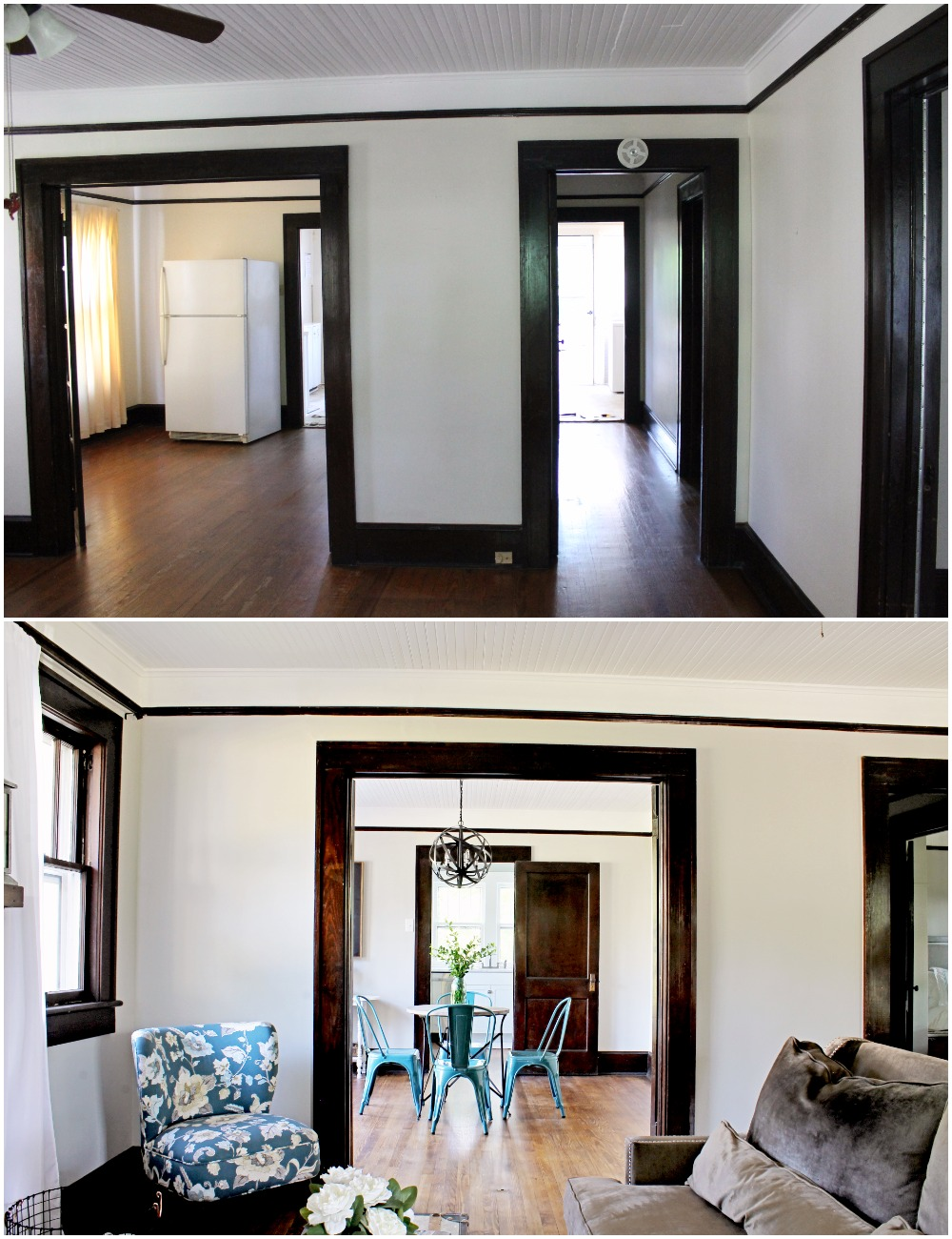 House Flipping Before and Afters - Living Room Budget Renovation Remodel, Wood Trim Paint Colors - Sherwin Williams Repose Gray (5).jpg